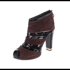 Tory Burch Ankle Bootie Suede Leather Black Brown